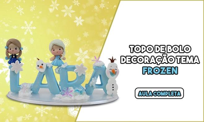 Topo de bolo em biscuit com personagens do filme Frozen