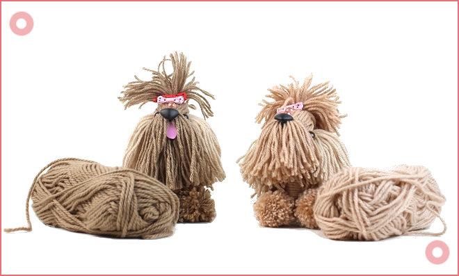 Cachorrinho de lã com pote de vidro/maionese - Reciclagem criativa - Detalhe