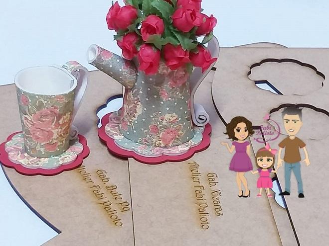 Cascata de flores na xícara com EVA – Lembrancinha e decoração - Gabarito em MDF - 2