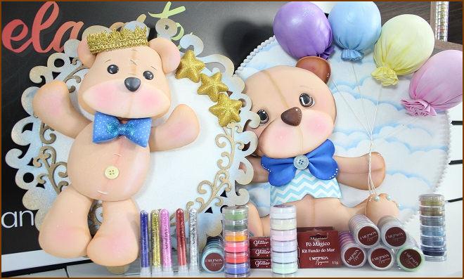 Enfeite de porta de maternidade com pó mágico - Tema Ursinho - Detalhe