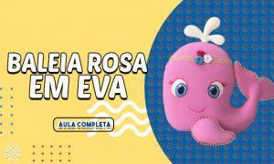 Baleia Rosa em EVA decorada com pintura, pigmentação e pérolas - Destaque