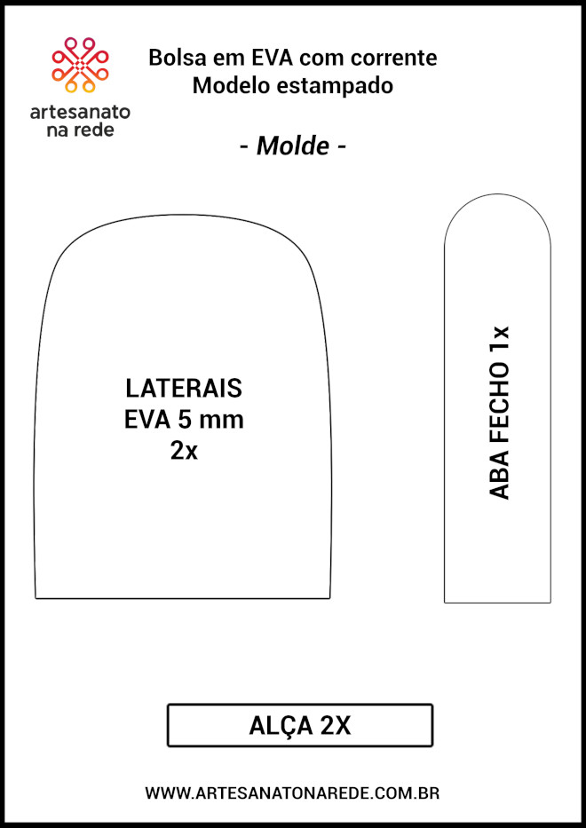 Bolsa em EVA com corrente - Modelo estampado - Molde em baixa dimensão