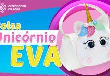 Bolsa ou nécessaire em EVA na forma de unicórnio - Lembrancinha infantil - Destaque