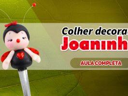 Colher decorada com biscuit - Tema Joaninha - Destaque