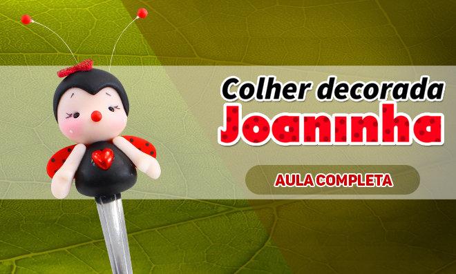 Colher decorada com biscuit – Tema Joaninha
