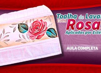 Pintura em tecido com stencil - Rosa porcelanizada - Destaque