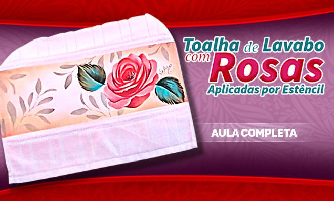 Pintura em tecido com stencil - Rosa porcelanizada