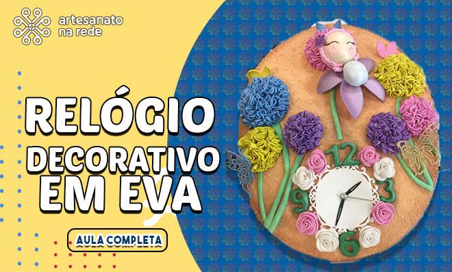 Relógio de parede decorativo em EVA – Modelo atoalhado e texturizado