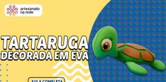Tartaruga em EVA com enchimento e decorada com pintura - Destaque