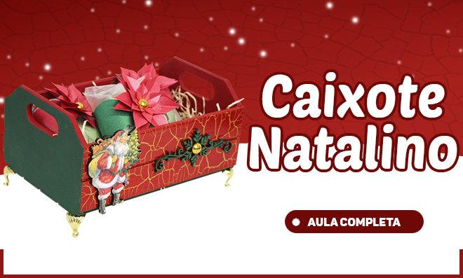 Caixote com efeito craquelado e decoração natalina