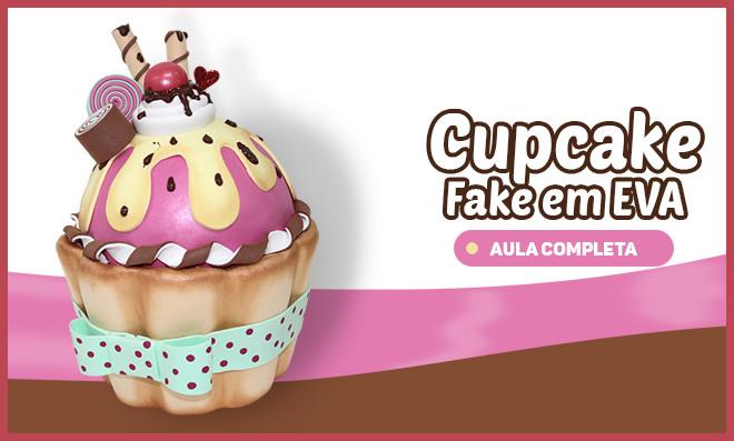 Cupcake fake de EVA em tamanho grande - Decoração, topo de bolo e lembrancinha