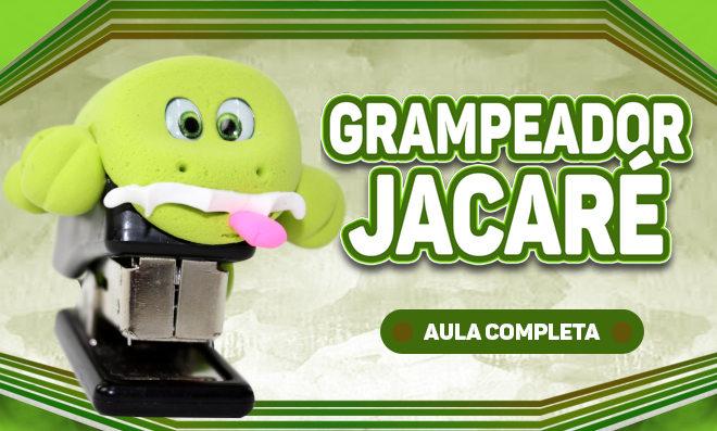 Grampeador de jacaré com massinha de EVA e modelagem simples