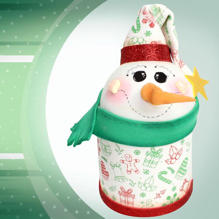 Lata natalina decorada com EVA - Boneco de neve - Detalhe
