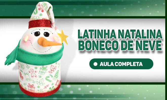 Lata natalina decorada com EVA - Boneco de neve