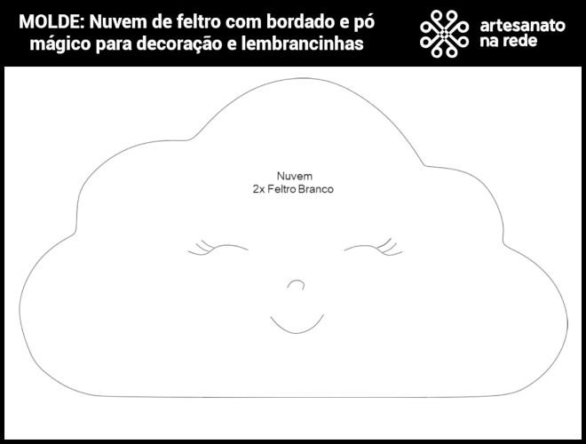 Nuvem de feltro com bordado e pó mágico para decoração e lembrancinhas - Molde demonstrativo