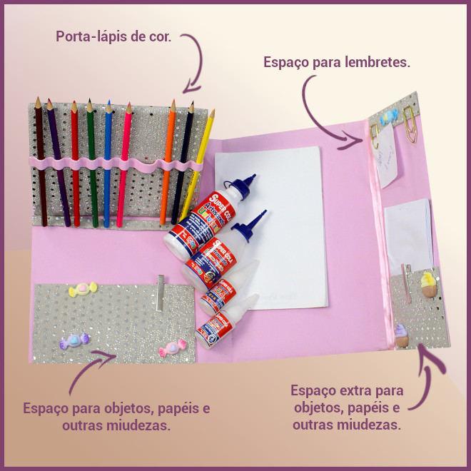 Pasta organizadora de material escolar com EVA estampado - Detalhe
