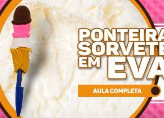 Ponteira em forma de sorvete com massinha de EVA - Destaque