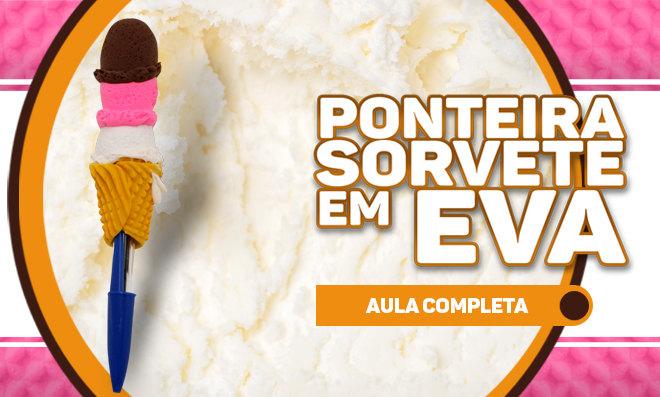 Ponteira em forma de sorvete com massinha de EVA