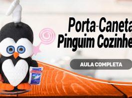 Porta-caneta decorado com massa de EVA - Pinguim cozinheiro - Destaque