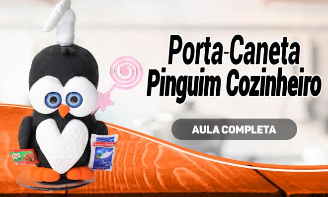 Porta-caneta decorado com massa de EVA - Pinguim cozinheiro