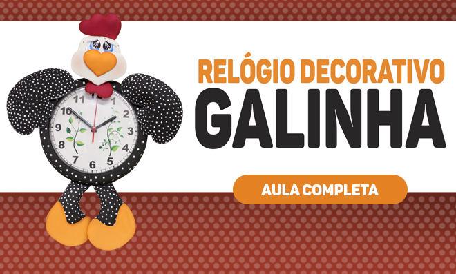 Relógio decorado com EVA – Galinha Carijó