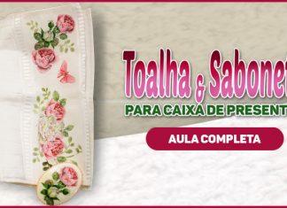 Toalha e sabonete decorados com découpage e pintura - Destaque