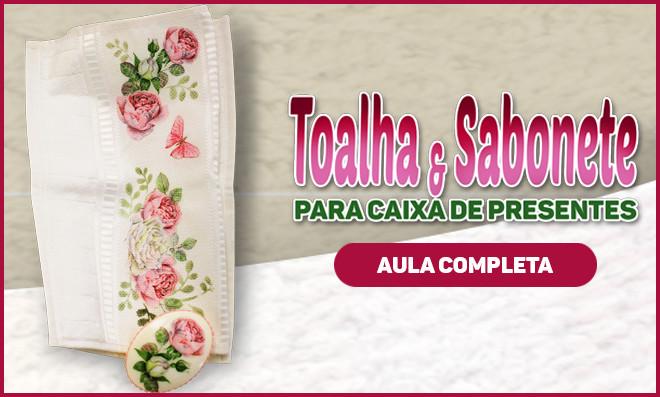Toalha e sabonete decorados com découpage e pintura