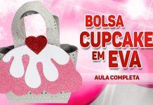 Bolsa com tema de cupcake feita em EVA - Modelo aberto e fechado - Destaque