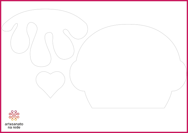 Bolsa com tema de cupcake feita em EVA - Modelo aberto e fechado - Molde - Parte 2- Ilustração