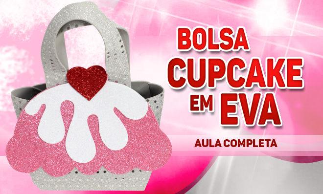 Bolsa com tema de cupcake feita em EVA - Modelo aberto e fechado