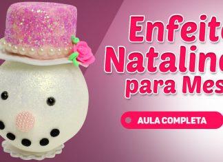 Cabeça de boneco de neve com massa de EVA para enfeite natalino - Destaque