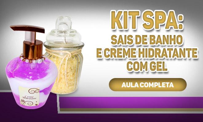 Kit spa personalizado: Sais de banho aromaterápicos e creme hidratante com gel