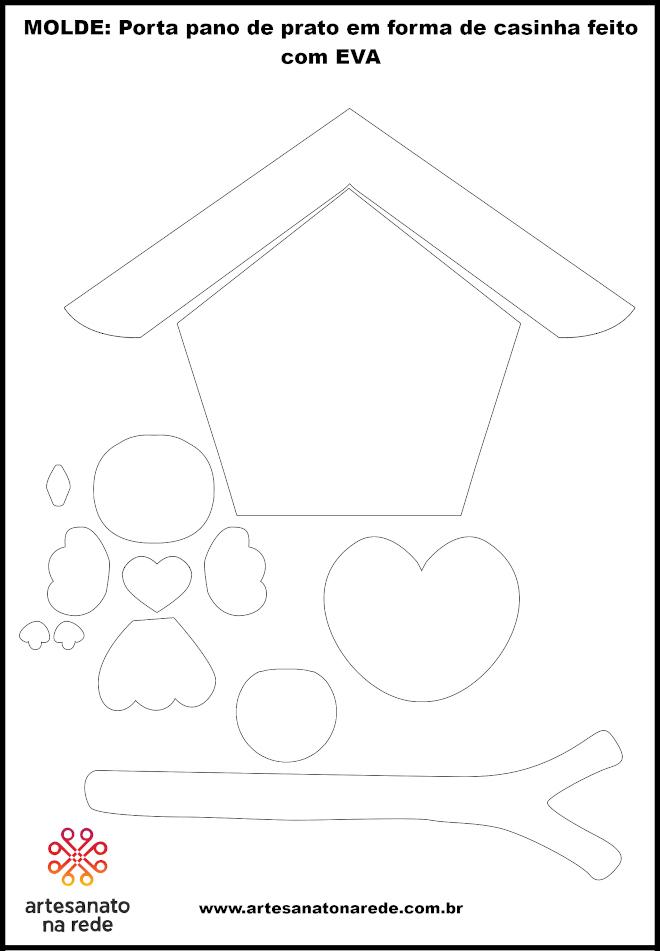 Porta pano de prato em forma de casinha feito com EVA - Ilustração do molde