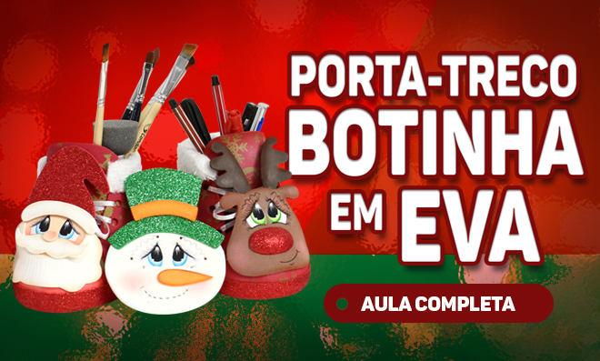 Porta-treco em forma de bota feito com EVA – Tema natalino