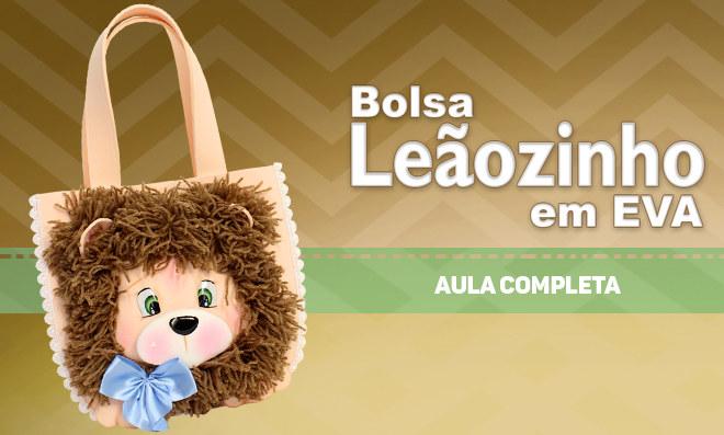 Bolsa em EVA com rosto de leão texturizado com lã - Destaque