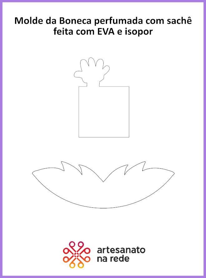 Boneca perfumada com sachê feita em EVA e isopor - Ilustração do molde