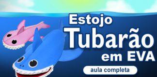 Estojo de EVA com zíper - Formato de tubarão - Destaque