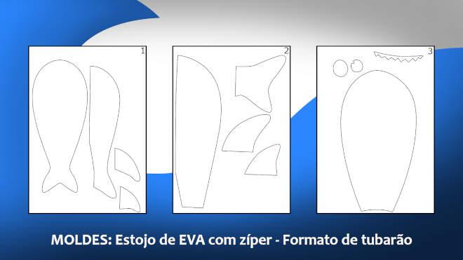 Moldes do estojo de EVA com zíper - Formato de tubarão - Ilustração dos moldes
