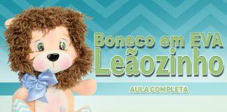 Leão feito de EVA com rosto texturizado em lã - Destaque