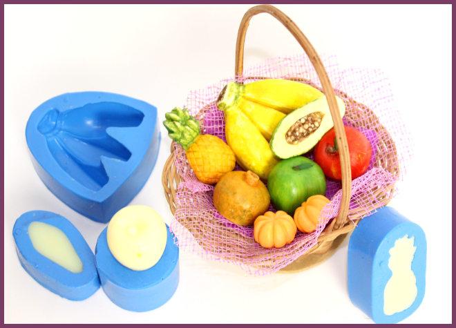 Mini sabonetes de frutas feitos artesanalmente - Ilustração dos moldes e sabonetes artesanais