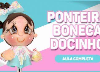 Ponteira em EVA com rosto de menininha - Caneta Docinho - Destaque