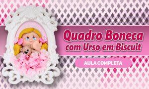 Quadro com boneca e urso de biscuit para decoração e lembrancinha - Destaque