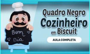 Quadro negro decorativo com biscuit - Cozinheiro português - Destaque