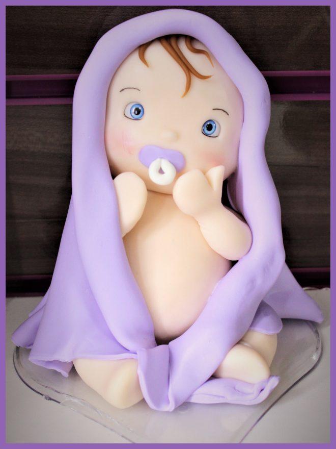 Bebê em biscuit para decoração - Feito sem balança - Detalhe