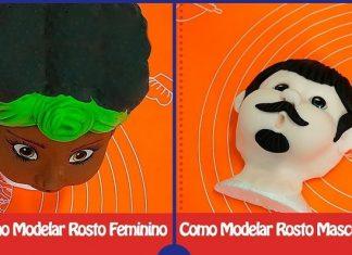 Como modelar rosto feminino e masculino com biscuit - Destaque