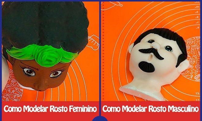 Como modelar rosto feminino e masculino com biscuit