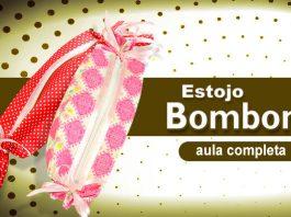 Estojo de EVA e tecido em forma de bombom - Tudo aplicado com cola - Destaque