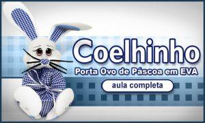 Porta-ovo de páscoa em EVA com formato de coelho - Destaque