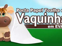 Porta-papel toalha em EVA no formato de vaquinha - Destaque
