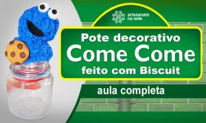 Pote de vidro decorado com biscuit - Cookie Monster na tampa! - Destaque